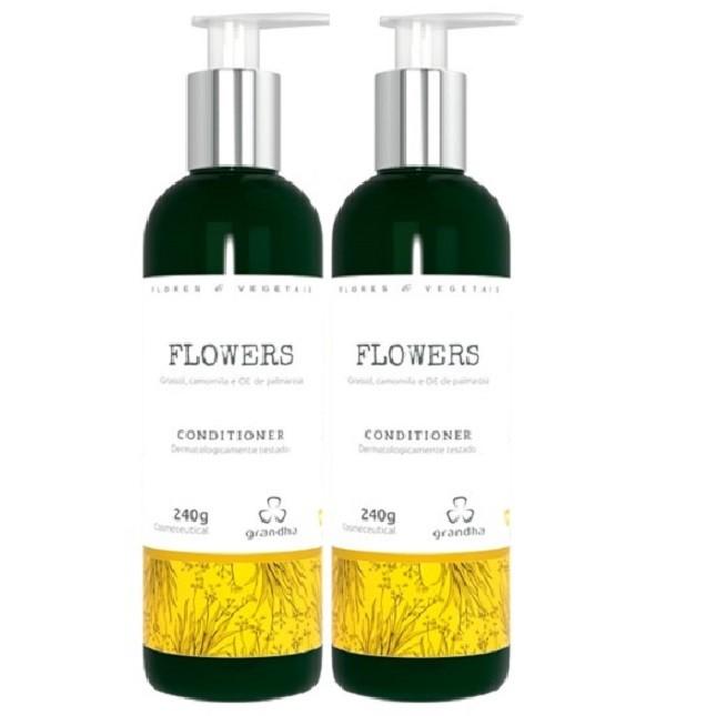 Kit Com 1 Shampoo 2 Condicionadores Grandha Flowers