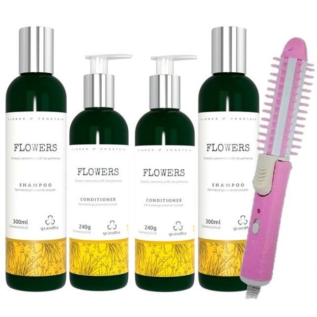 Kit Com 2 Shampoo 2 Condicionadores Grandha Flowers e Escova