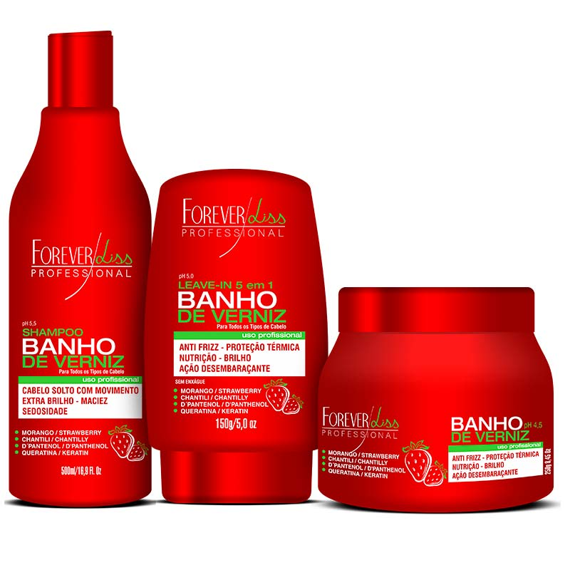 Kit Completo Banho de Verniz Morango Forever Liss