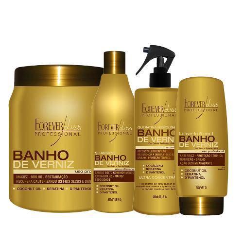 Kit Completo Forever Liss  Banho de Verniz Shampoo 500ml+máscara 1Kg+Leave In 150g+Queratina 300ml