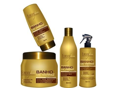 Kit Completo Forever Liss  Banho de Verniz Shampoo 500ml+máscara 250g+Leave In 150g+Queratina 300ml