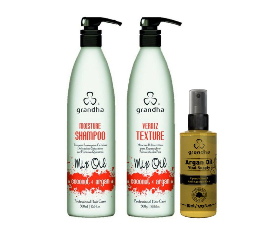 Kit Completo Grandha Coconut e Argan 500ml + Óleo de Argan