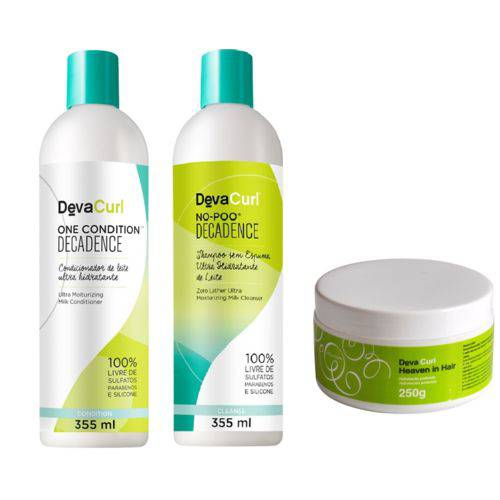Kit Deva Curl Decadence No Poo, One Condition, Heave in Hair