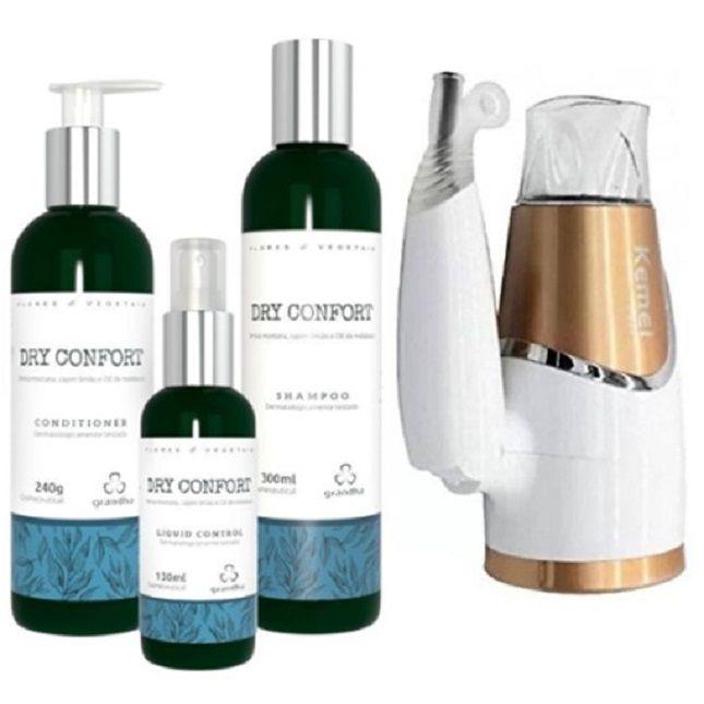 KIT Dry Confort Grandha + Secador Dobrável Kemei 6832