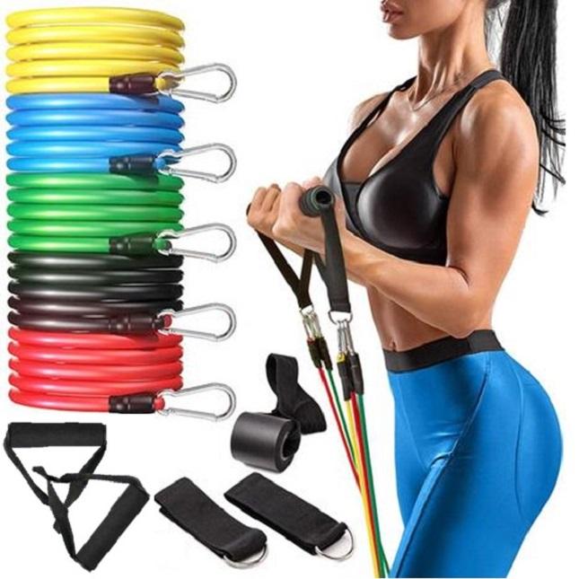 Kit Elasticos Exercícios 11 Peças Pilates Musculação Treino