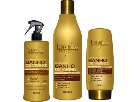 Kit Forever Liss  Banho de Verniz Shampoo 500ml+Leave In 150g+Queratina 300ml