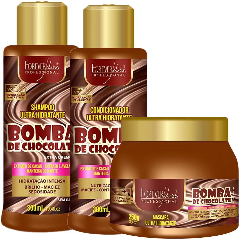 Kit Forever Liss Bomba de Chocolate Shampoo 300ml + Condicionador 300ml + Máscara 250g