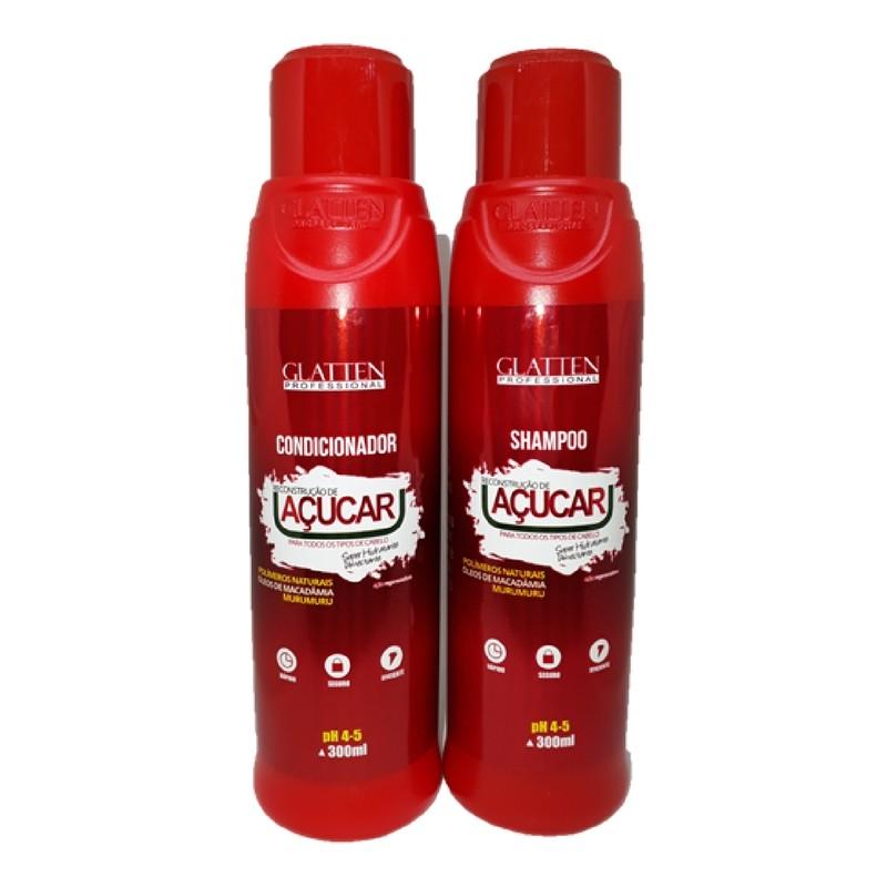 Kit Glatten Açúcar Shampoo E Condicionador Reconstrução Professional
