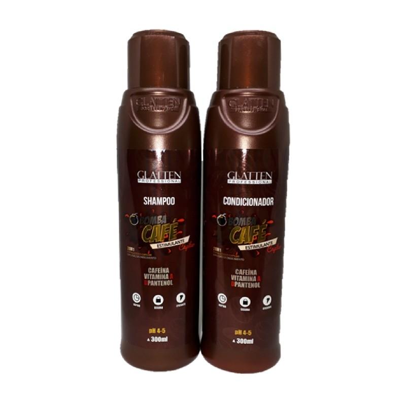 Kit Glatten Bomba de Café Shampoo E Condicionador Reconstrução Professional