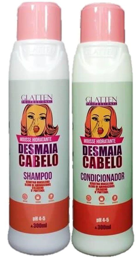 Kit Glatten Shampoo e  Condicionador Desmaia Cabelo 300ml