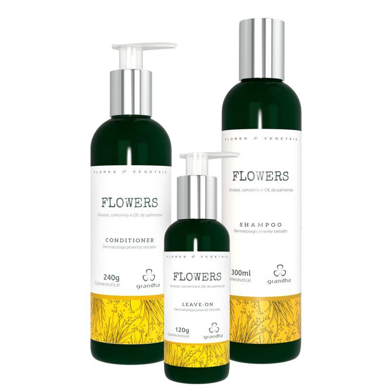 KIt Grandha flowers Flores e Vegetais  Shampoo Leavein Condicionador terapia capilar