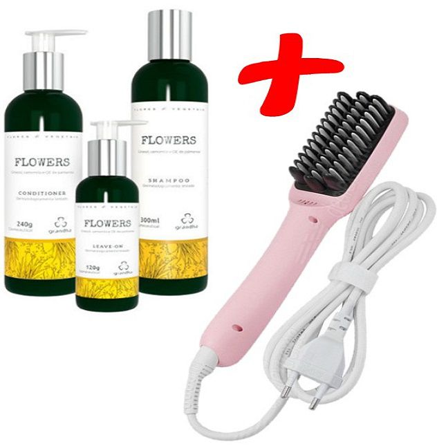 Kit Grandha Flowers + Escova  Alisadora  Heating Brilho Frizz  Bivolt