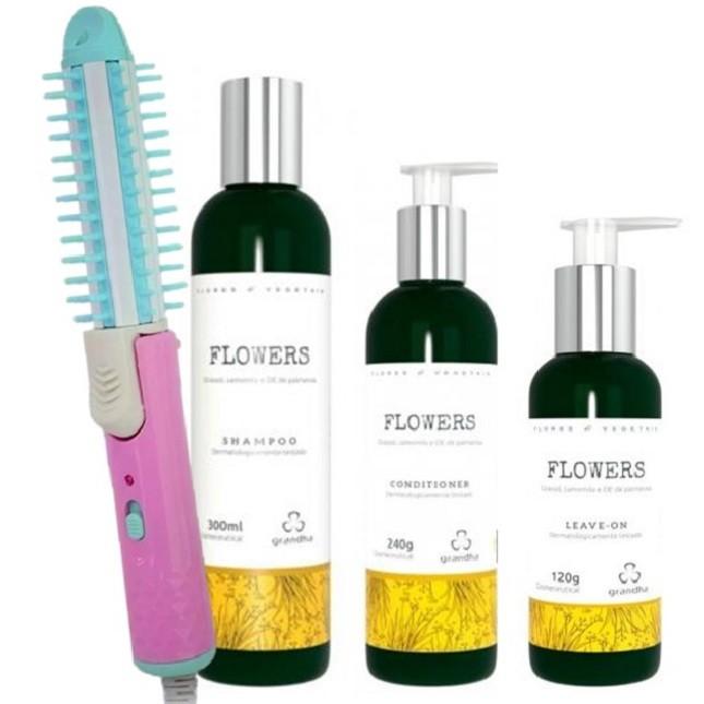 Kit Grandha Flowers Shampoo Conditionador Leave Escova