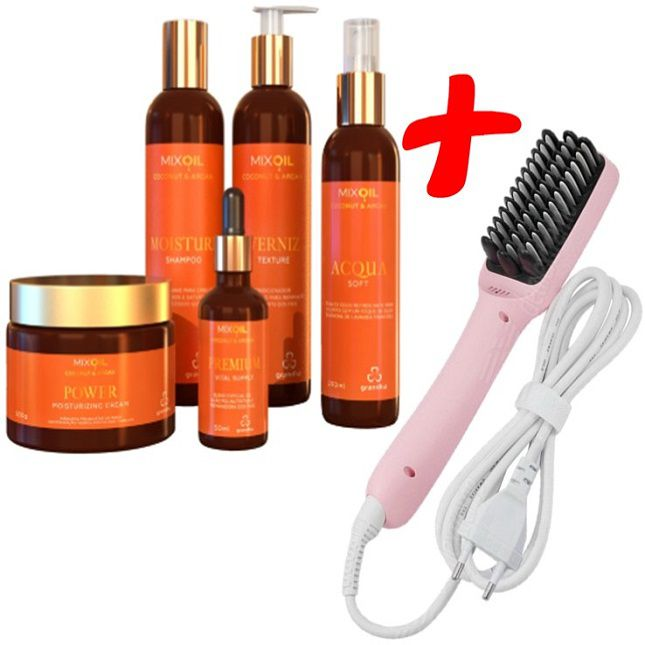 Kit Grandha Mix Oil Coconut & Argan + Escova Alisadora Heating 2 em 1