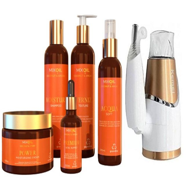 Kit Grandha Mix Oil Coconut & Argan + Secador Dobrável Km6832