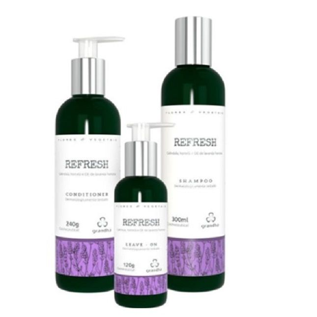 Kit Grandha Refresh Flores & Vegetais Shampoo Condicionador Leave-in