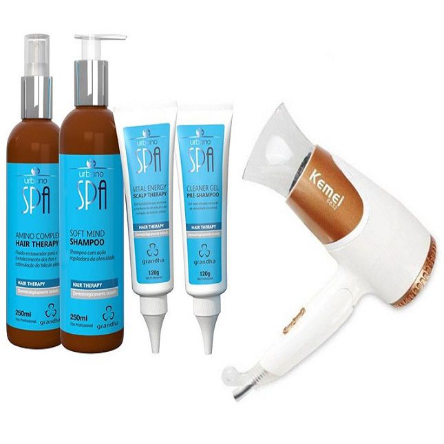 Kit Grandha Urbano Spa Hair Therapy + Secador Dobrável KM 6832