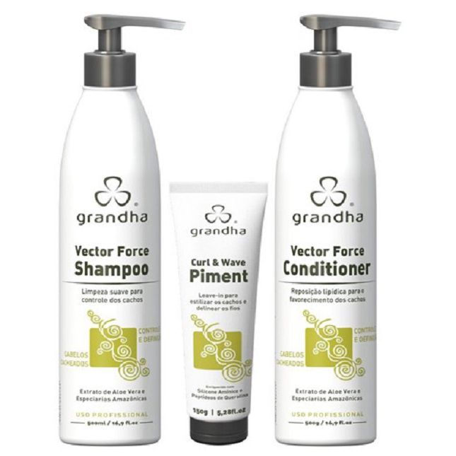 Kit Grandha Vector Force Curl & Wave 500 ml e Wave Piment