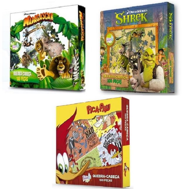 Kit Jogos Quebra Cabeça Infantil
