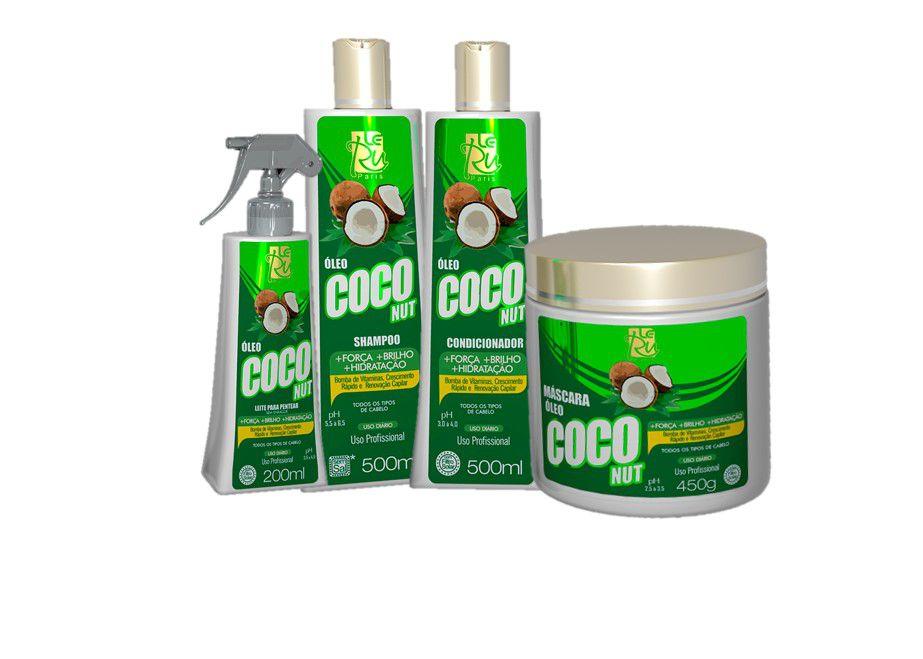 Kit Le Ru Coco Nut Shampoo, Cond, Oléo de Coco e Máscara 450g