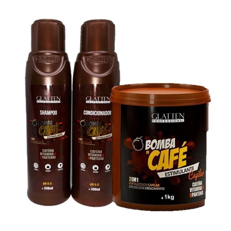 Kit Máscara Bomba De Café Glatten 1kg Shampoo Condicionador