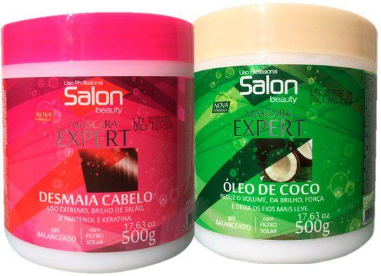 Kit Máscaras Desmaia Cabelo E Óleo Coco Salon Beauty