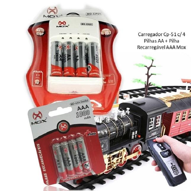 Kit Mox Carregador De Pilhas Cp-51 4 Pilhas AA 4 Pilhas AAA