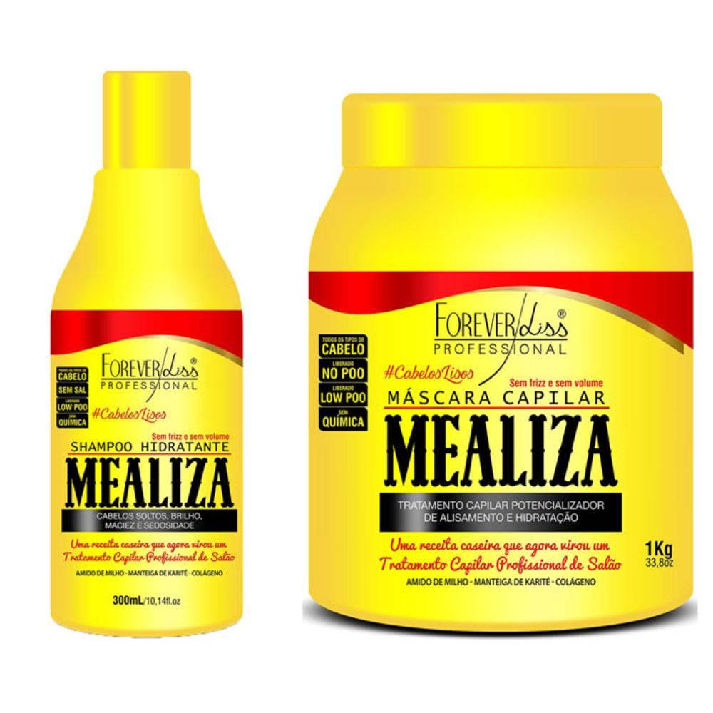 Kit Profissional Maizena Capilar Mealiza Forever Liss Shampoo 300ml + Máscara 1Kg