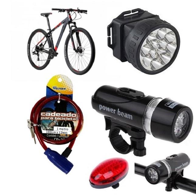 Kit Segurança Bicicleta Lanterna Luz Capacete Cadeado