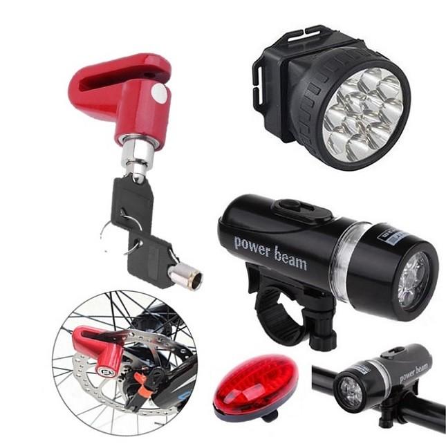 Kit Segurança Ciclismo Bicicleta Lanterna Luz Capacete Trava