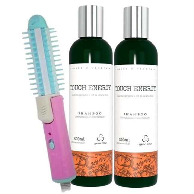 Kit Shampoo Grandha Touch Energy Com 2 unidades e Escova