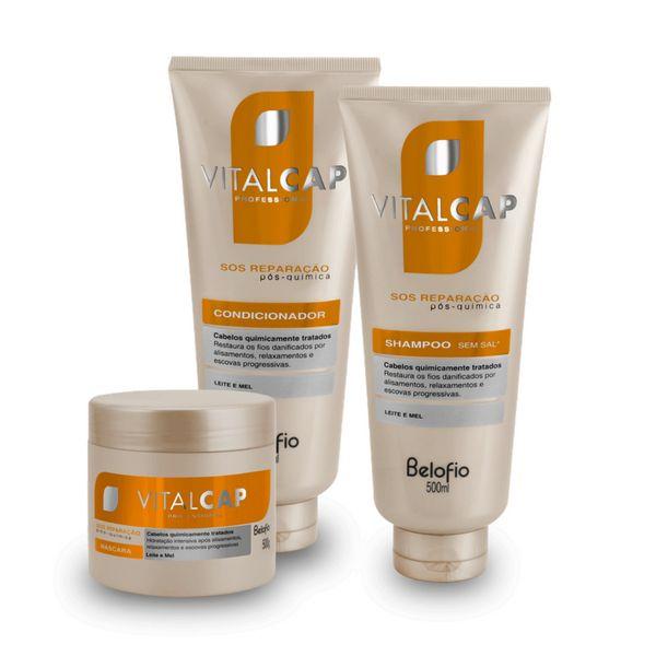 Kit SOS Reparação Shampoo, Condicionador e Máscara VITALCAP