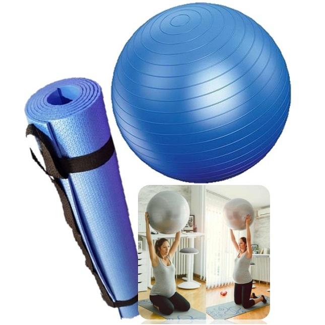 Kit Tapete Bola Fisioterapia Fitness Yoga Pilates Azul