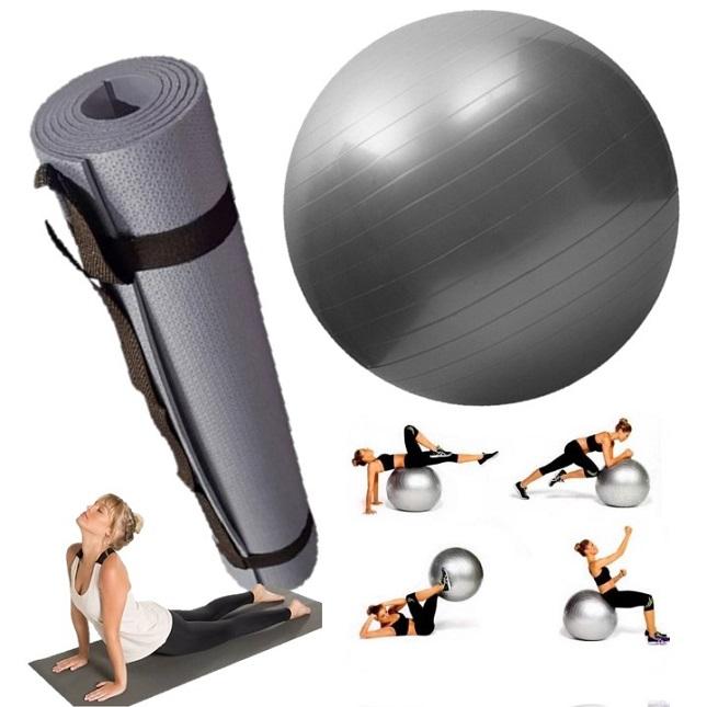 Kit Tapete Bola Fisioterapia Fitness Yoga Pilates Cinza