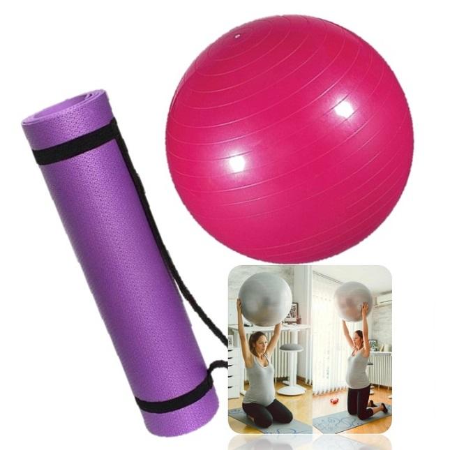 Kit Tapete Bola Fisioterapia Fitness Yoga Pilates Lilás