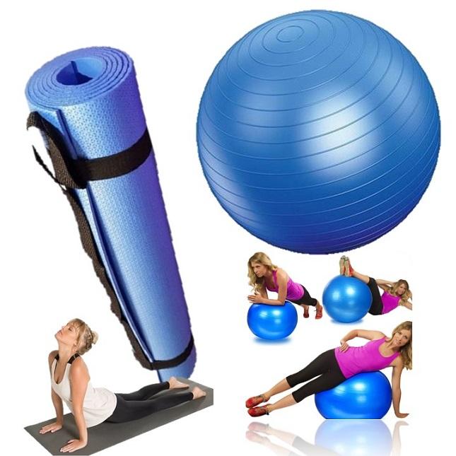 Kit Tapete Bola Fitness Yoga Pilates Fisioterapia Azul