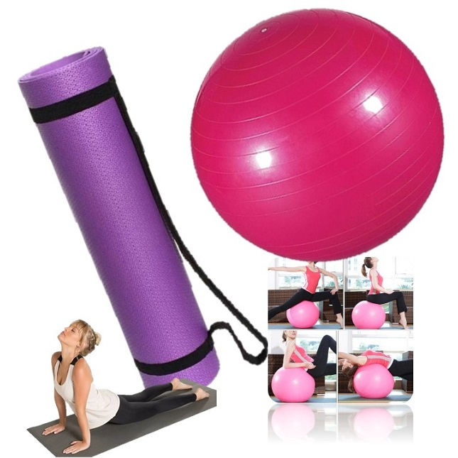 Kit Tapete Bola Fitness Yoga Pilates Fisioterapia Treino Lilás