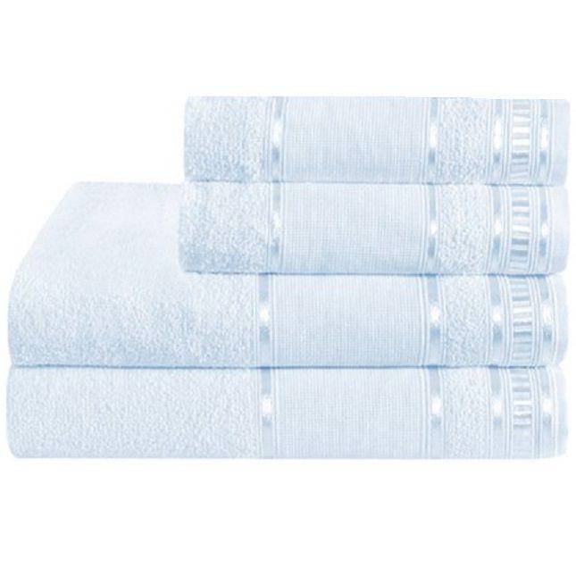 Kit Toalha de Banho e Rosto Slim Plus Azul Claro - Dianneli