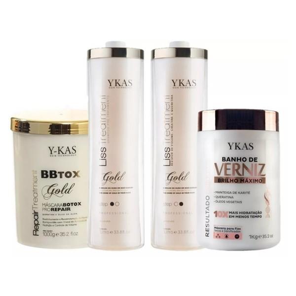 Kit Ykas Escova Progressiva Ouro 2 Litros + Botox 1 Kg + Verniz 1kg