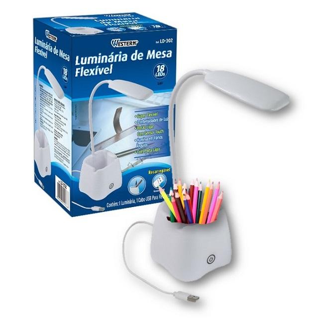 Luminaria De Mesa Flexivel Touch 18 Leds Porta Lápis Celular