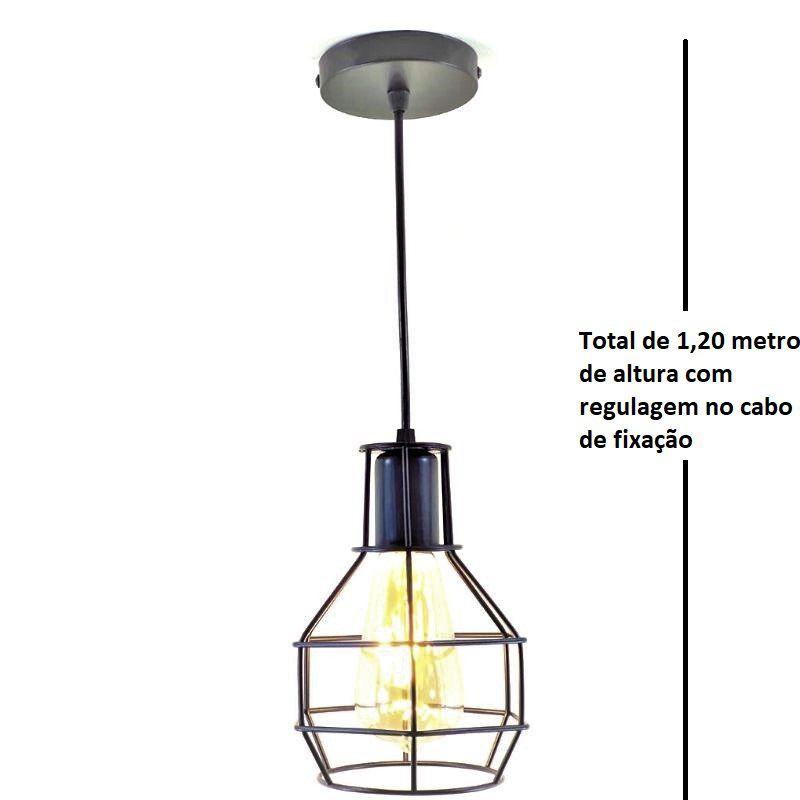 Luminária Lustre Pendente Aramado Gaiola Preto