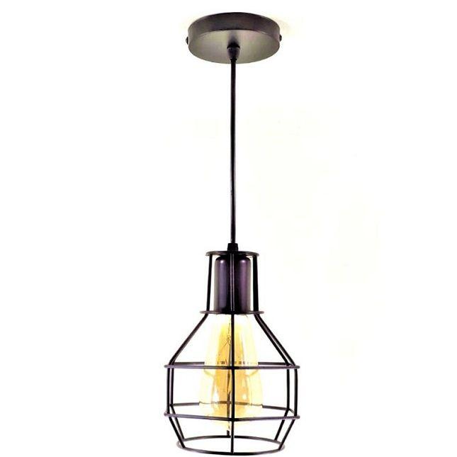 Luminária Pendente Aramado  Lustre Gaiola Preto + Lâmpada Vintage Retro ST64 E27
