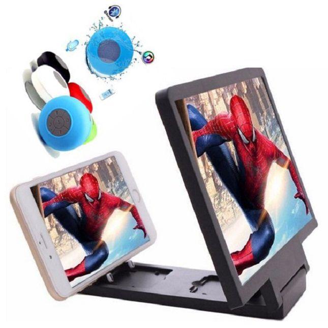 Lupa Ampliadora Tela De Celular 3D  Universal + Caixa Bluetooth