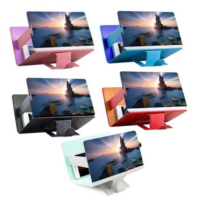 Lupa Ampliadora Tela De Celular 3D  Universal Couro Dobrável