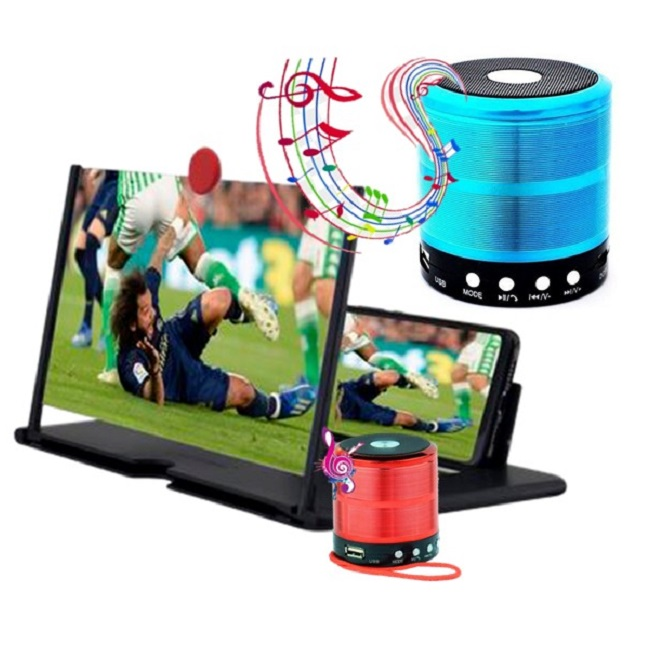 Lupa Tela Ampliadora Celular 3D Mini Caixa Som Bluetooth