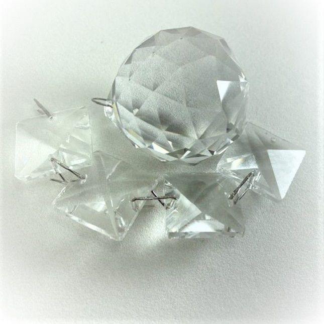 Lustre Cristais Base Inox 18 cm + Lâmpadas Led