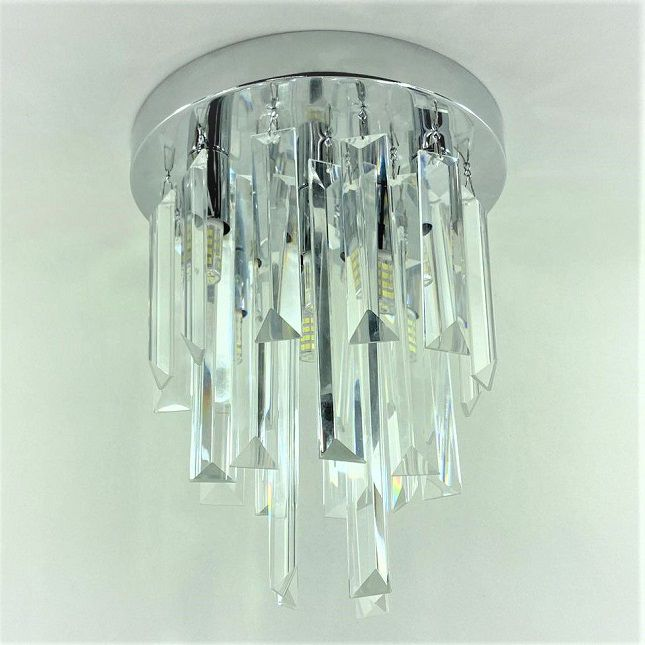 Lustre Cristais Base Inox + Lâmpadas Led G9
