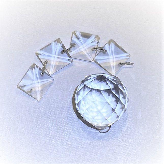 Lustre Cristais base redonda inox diâmetro de 18 cm + Lâmpadas Led