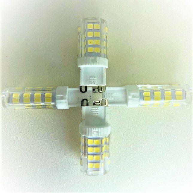 Lustre Cristais Inox  20 cm com Lâmpadas Led G9