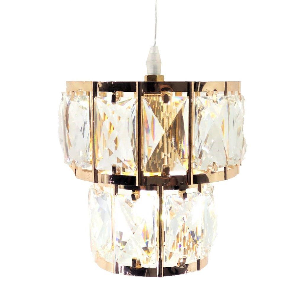 Lustre Cristal Redondo LED DCD-186 + Lâmpada LED E14